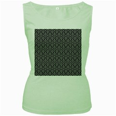 Hexagon1 Black Marble & White Linen (r) Women s Green Tank Top