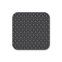 Hexagon1 Black Marble & White Linen (r) Rubber Coaster (square)