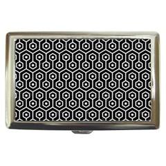 Hexagon1 Black Marble & White Linen (r) Cigarette Money Cases