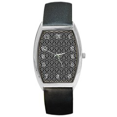 Hexagon1 Black Marble & White Linen (r) Barrel Style Metal Watch