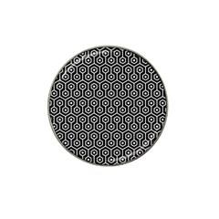 Hexagon1 Black Marble & White Linen (r) Hat Clip Ball Marker