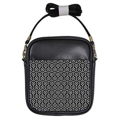 Hexagon1 Black Marble & White Linen (r) Girls Sling Bags