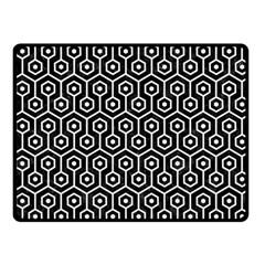 Hexagon1 Black Marble & White Linen (r) Fleece Blanket (small)
