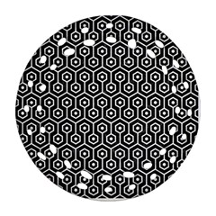 Hexagon1 Black Marble & White Linen (r) Round Filigree Ornament (two Sides)