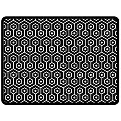 Hexagon1 Black Marble & White Linen (r) Double Sided Fleece Blanket (large)