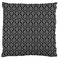 Hexagon1 Black Marble & White Linen (r) Large Flano Cushion Case (one Side)
