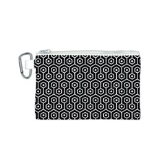 Hexagon1 Black Marble & White Linen (r) Canvas Cosmetic Bag (s)