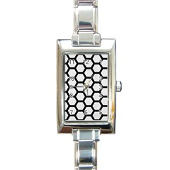 Hexagon2 Black Marble & White Linen Rectangle Italian Charm Watch