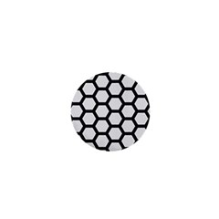 Hexagon2 Black Marble & White Linen 1  Mini Buttons