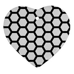 Hexagon2 Black Marble & White Linen Ornament (heart)