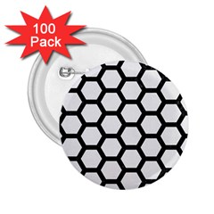 Hexagon2 Black Marble & White Linen 2 25  Buttons (100 Pack)