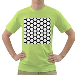 Hexagon2 Black Marble & White Linen Green T Shirt