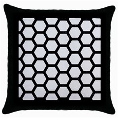 Hexagon2 Black Marble & White Linen Throw Pillow Case (black)