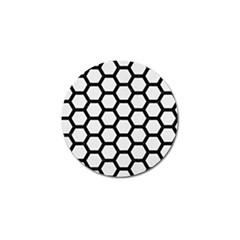 Hexagon2 Black Marble & White Linen Golf Ball Marker (4 Pack)