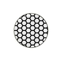 Hexagon2 Black Marble & White Linen Hat Clip Ball Marker (4 Pack)