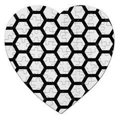 Hexagon2 Black Marble & White Linen Jigsaw Puzzle (heart)