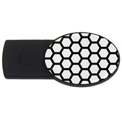 Hexagon2 Black Marble & White Linen Usb Flash Drive Oval (4 Gb)