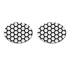 Hexagon2 Black Marble & White Linen Cufflinks (oval)