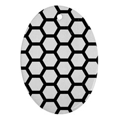 Hexagon2 Black Marble & White Linen Oval Ornament (two Sides)