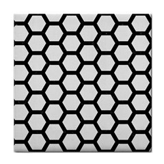 Hexagon2 Black Marble & White Linen Face Towel