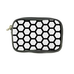 Hexagon2 Black Marble & White Linen Coin Purse