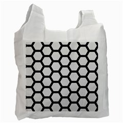 Hexagon2 Black Marble & White Linen Recycle Bag (two Side)
