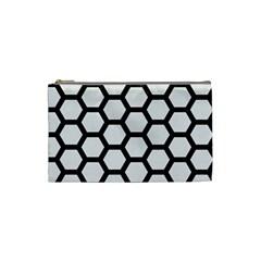 Hexagon2 Black Marble & White Linen Cosmetic Bag (small)