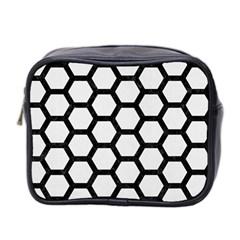 Hexagon2 Black Marble & White Linen Mini Toiletries Bag 2 Side
