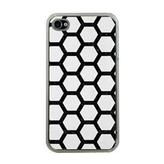 Hexagon2 Black Marble & White Linen Apple Iphone 4 Case (clear)