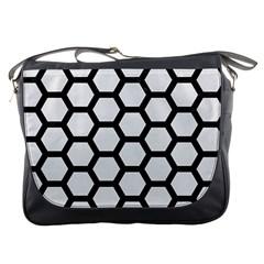 Hexagon2 Black Marble & White Linen Messenger Bags