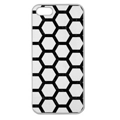 Hexagon2 Black Marble & White Linen Apple Seamless Iphone 5 Case (clear)
