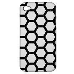 Hexagon2 Black Marble & White Linen Apple Iphone 4/4s Hardshell Case (pc+silicone)