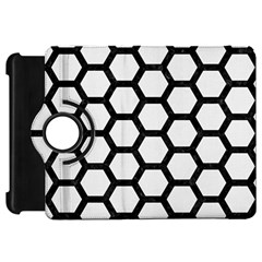 Hexagon2 Black Marble & White Linen Kindle Fire Hd 7
