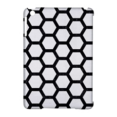 Hexagon2 Black Marble & White Linen Apple Ipad Mini Hardshell Case (compatible With Smart Cover)