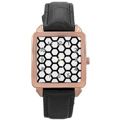 Hexagon2 Black Marble & White Linen Rose Gold Leather Watch