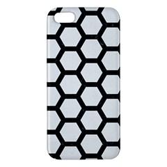 Hexagon2 Black Marble & White Linen Apple Iphone 5 Premium Hardshell Case