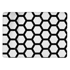 Hexagon2 Black Marble & White Linen Samsung Galaxy Tab 10 1  P7500 Flip Case