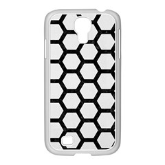 Hexagon2 Black Marble & White Linen Samsung Galaxy S4 I9500/ I9505 Case (white)