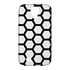 Hexagon2 Black Marble & White Linen Samsung Galaxy S4 Classic Hardshell Case (pc+silicone)