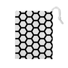 Hexagon2 Black Marble & White Linen Drawstring Pouches (large)