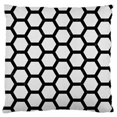 Hexagon2 Black Marble & White Linen Large Flano Cushion Case (one Side)