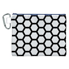 Hexagon2 Black Marble & White Linen Canvas Cosmetic Bag (xxl)