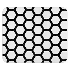 Hexagon2 Black Marble & White Linen Double Sided Flano Blanket (small)