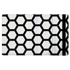 Hexagon2 Black Marble & White Linen Apple Ipad Pro 12 9   Flip Case
