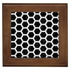 Hexagon2 Black Marble & White Linen (r) Framed Tiles