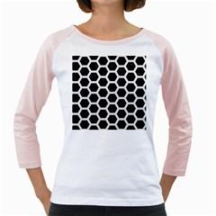 Hexagon2 Black Marble & White Linen (r) Girly Raglans