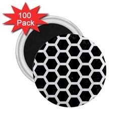 Hexagon2 Black Marble & White Linen (r) 2 25  Magnets (100 Pack)