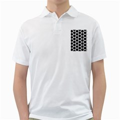 Hexagon2 Black Marble & White Linen (r) Golf Shirts