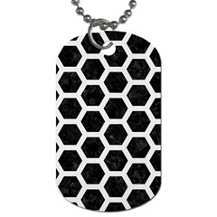 Hexagon2 Black Marble & White Linen (r) Dog Tag (one Side)