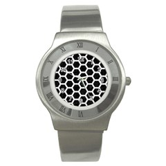 Hexagon2 Black Marble & White Linen (r) Stainless Steel Watch